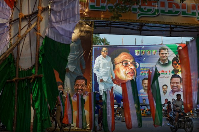 Indian Home Minister P. Chidambaram, accompanied by other <br />political luminaries, makes his presence felt in Cuddalore. ©Tom Pietrasik 2009
